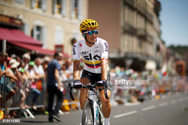 Sergio Henao Montoya of Colombia riding for Team Sky rides to the start of stage 16 of the 2017 Le Tour de France, a 165km stage from Le Puy-en-Velay...