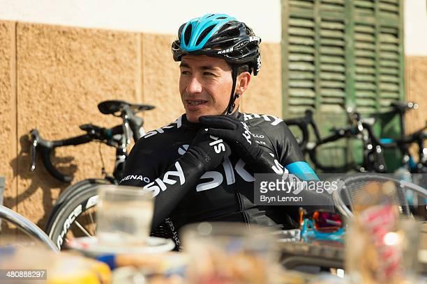 Sergio Henao of Team SKY enjoys a cafe stop during a training ride on February 3 2014 in Palma de Mallorca Spain