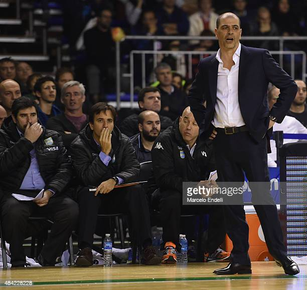 Sergio Hernandez coach of Argentina gestures during a match between Argentina and Brazil as part of Four Nations Championship at Tecnopolis Stadium...