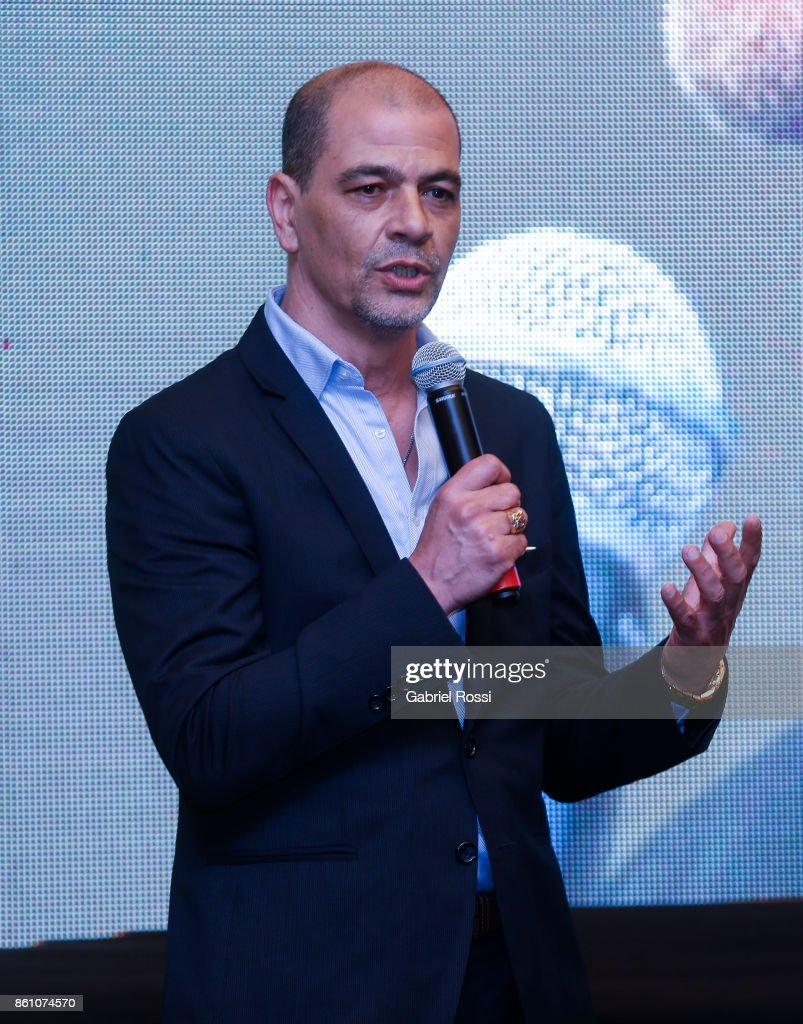 Sergio Hernandez coach of Argentina speaks during the final presentation of the Argentina-Uruguay Candidacy For FIBA World Cup 2023 at NH Hotel on October 12, 2017 in Buenos Aires, Argentina.
