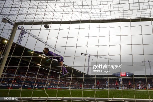Sergio Herrera in action during the Spanish La Liga Santander match between CA Osasuna and Real Sociedad at the Sadar stadium