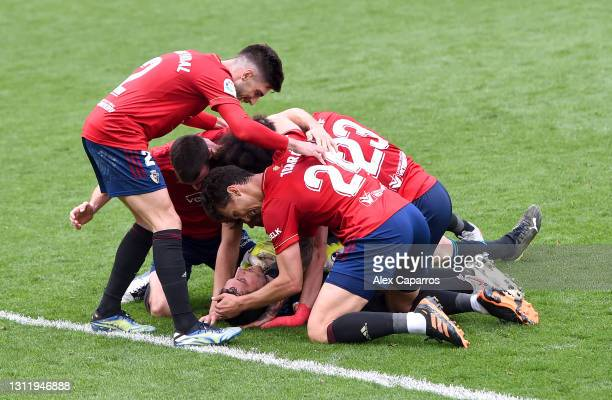 Sergio Herrera of CA Osasuna celebrates victory with team mates after the La Liga Santander match between Villarreal CF and C.A. Osasuna at Estadio...