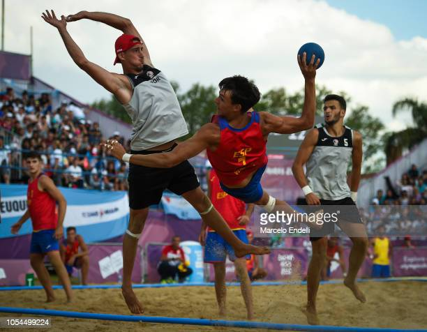 Sergio Jose Venegas Rodriguez of Spain shoots on target in the Men Gold Medal Match during day 7 of Buenos Aires 2018 Youth Olympic Games at Green...