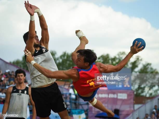 Sergio Jose Venegas Rodriguez of Spain shoots on target in the Men Gold Medal Match against Portugal during day 7 of Buenos Aires 2018 Youth Olympic...