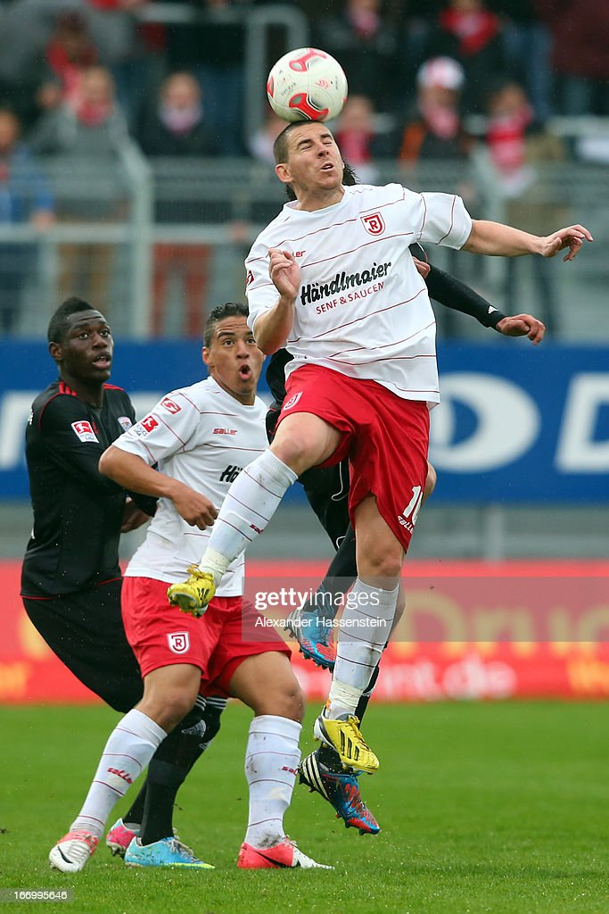 Sergio Koke-Pardo of Regensburg battles for the ball during the Second Bundesligamatch between Jahn Regensburg and FC Ingolstadt at Jahnstadion on April 19, 2013 in Regensburg, Germany.