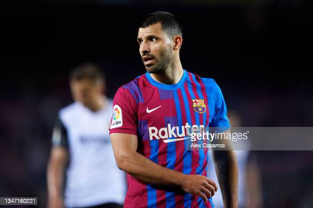 Sergio 'Kun' Aguero of FC Barcelona looks on during the LaLiga Santander match between FC Barcelona and Valencia CF at Camp Nou on October 17, 2021...