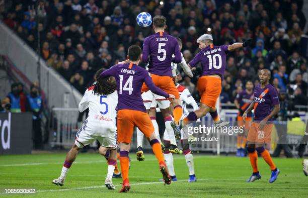 Sergio Kun Aguero of Manchester City scores the second and tying goal at 22 during the UEFA Champions League match between Olympique Lyonnais and...