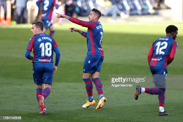 Sergio Leon of Levante celebrates after scoring their team's first goal during the La Liga Santander match between Villarreal CF and Levante UD at...