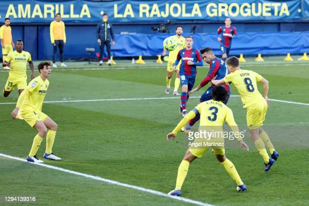 Sergio Leon of Levante scores their team's first goal during the La Liga Santander match between Villarreal CF and Levante UD at Estadio de la...