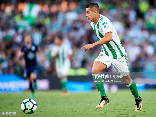 Sergio Leon of Real Betis Balompie in action during the La Liga match between Real Betis and Deportivo La Coruna at Estadio Benito Villamarin on...