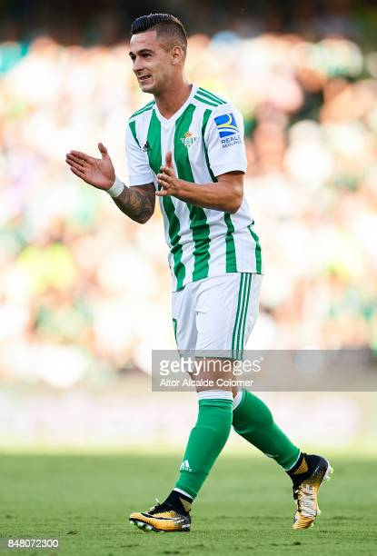 Sergio Leon of Real Betis Balompie looks on during the La Liga match between Real Betis and Deportivo La Coruna at Estadio Benito Villamarin on...