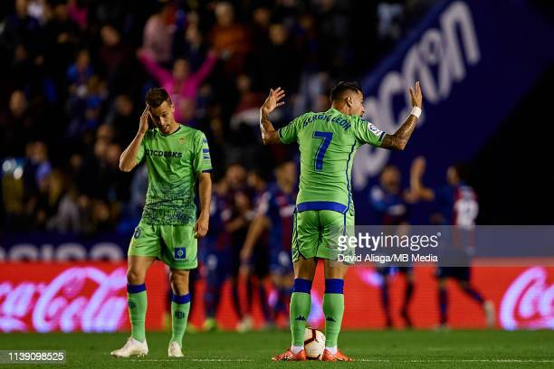 Sergio Leon of Real Betis Balompie reacts during the La Liga match between Levante UD and Real Betis Balompie at Ciutat de Valencia on April 24 2019...
