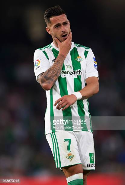 Sergio Leon of Real Betis Balompie reacts during the La Liga match between Real Betis and Las Palmas at Estadio Benito Villamarin on April 19 2018 in...