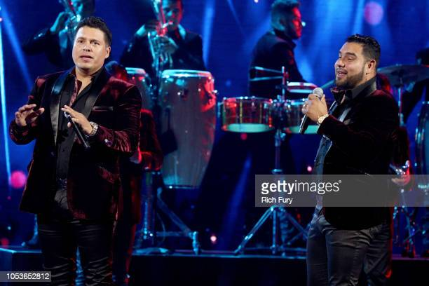 Sergio Lizarraga and Alan Manuel Ramirez Salcido of Banda MS perform onstage during the 2018 Latin American Music Awards at Dolby Theatre on October...