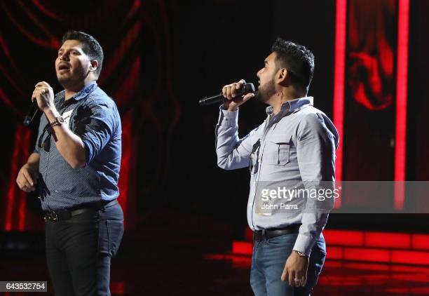 Sergio Lizarraga and Alan Ramirez of Banda MS rehearse on stage at Univision's 29th Edition Of Premio Lo Nuestro A La Musica Latina Rehearsals Day 2...