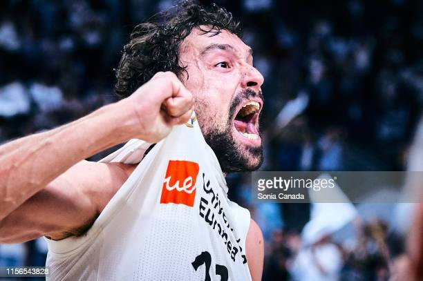 Sergio Llull, #23 guard of Real Madrid celebrates the victory during the final of the Liga ACB match between Real Madrid and Barcelona at Wizink...