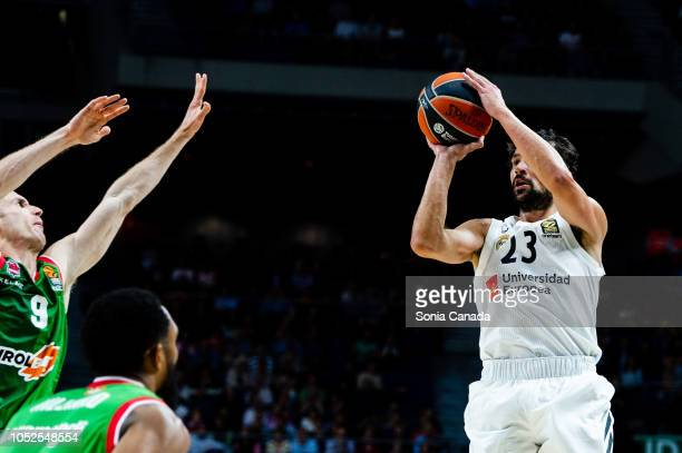 Sergio Llull #23 guard of Real Madrid during the 2018/2019 Turkish Airlines Euroleague Regular Season Round 27 game between Real Madrid and Kirolbet...