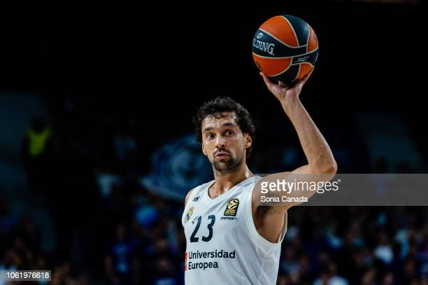 Sergio Llull #23 guard of Real Madrid during the 2018/2019 Turkish Airlines Euroleague Regular Season Round 7 game between Real Madrid and Khimki...