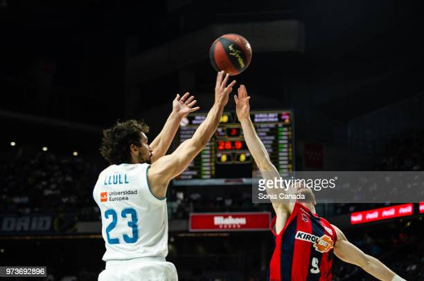 Sergio Llull, #23 guard of Real Madrid during the Liga Endesa game between Real Madrid and Kirolbet Baskonia at Wizink Center on June 13, 2018 in...