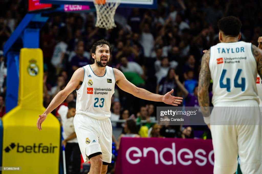 Sergio Llull, #23 guard of Real Madrid during the Liga Endesa game between Real Madrid and Kirolbet Baskonia at Wizink Center on June 13, 2018 in Madrid, Spain.
