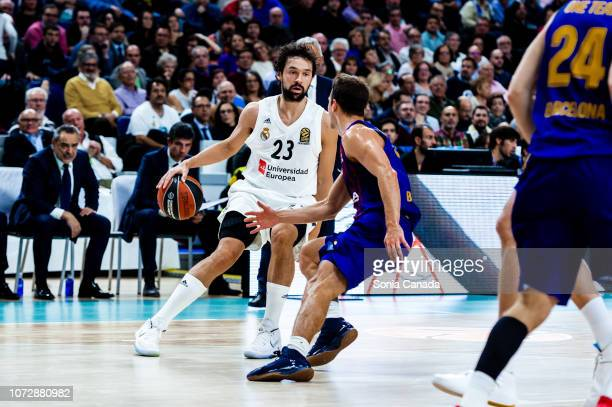 Sergio Llull #23 guard of Real Madrid in action during the 2018/2019 Turkish Airlines Euroleague Regular Season Round 12 game between Real Madrid and...