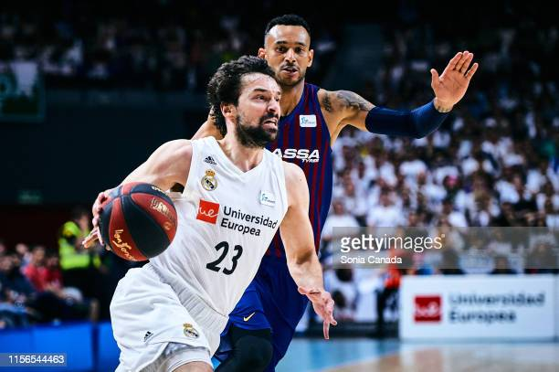 Sergio Llull #23 guard of Real Madrid in action during the final of the Liga ACB match between Real Madrid and Barcelona at Wizink Center on June 17...