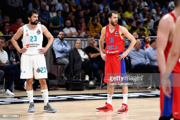 Sergio Llull #23 of Real Madrid and Sergio Rodriguez #13 of CSKA Moscow during the 2018 Turkish Airlines EuroLeague F4 Semifnal B game between...