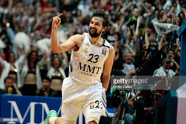Sergio Llull, #23 of Real Madrid celebrates during the Turkish Airlines Euroleague Basketball Play Off Game 5 between Real Madrid v Olympiacos...