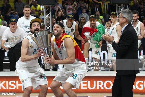 Sergio Llull, #23 of Real Madrid, Felipe Reyes, #9 of Real Madrid and Jordi Bertomeu CEO of Euroleague during the 2018 Turkish Airlines EuroLeague F4...