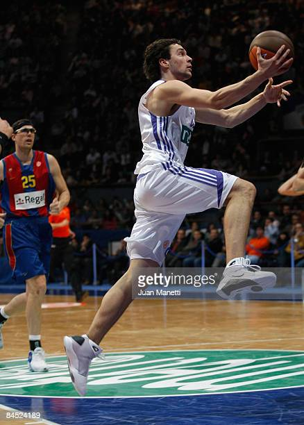 Sergio Llull #23 of Real Madrid in action during the Euroleague Basketball Top 16 Game 1 match between Real Madrid v Regal FC Barcelona on January 28...
