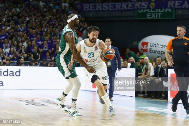 16a112c4570 Sergio Llull #23 of Real Madrid in action during the Turkish Airlines  Euroleague Play Offs. Real Madrid v Panathinaikos Superfoods Athens ...