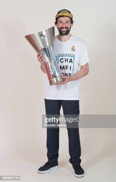 Sergio Llull #23 of Real Madrid poses 2018 Turkish Airlines EuroLeague F4 Champion Photo Session with Trophy at Stark Arena on May 20 2018 in...
