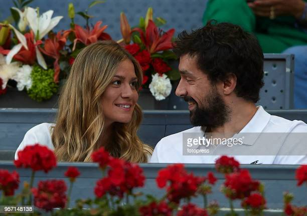 Sergio Llull and Almudena Canovas attend day six of the Mutua Madrid Open at La Caja Magica on May 10 2018 in Madrid Spain
