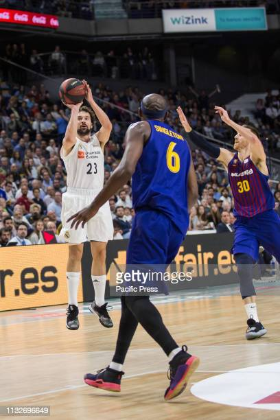 Sergio Llull during FC Barcelona Lassa victory over Real Madrid in Liga Endesa regular season game celebrated in Madrid at Wizink Center March 24th...