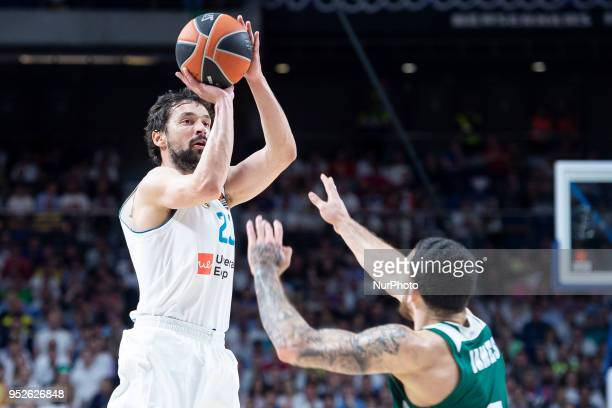 Sergio Llull of Real Madrdi in action against Mike James of Panathinaikos Superfoods Athens during the Turkish Airlines Euroleague Play Offs Game 4...
