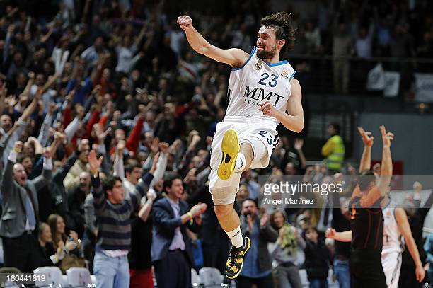 Sergio Llull of Real Madrid celebrates their victory against CSKA Moscow at the end of the Turkish Airlines Euroleague Top 16 game at Palacio de los...