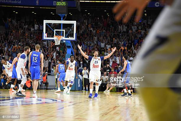 Sergio Llull of Real Madrid hits a game tying three pointer against the Oklahoma City Thunder to go to overtime as part of the 2016 Global Games on...