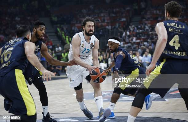 Sergio Llull of Real Madrid in action against Jason Thompson and Ali Muhammed of Real Madrid during the Turkish Airlines Euroleague Final Four...