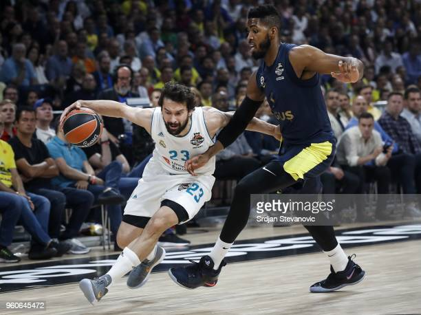 Sergio Llull of Real Madrid in action against Jason Thompson of Fenerbahce during the Turkish Airlines Euroleague Final Four Belgrade 2018 Final...
