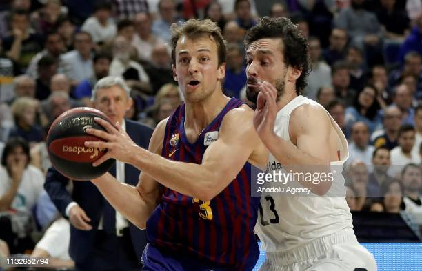 Sergio Llull of Real Madrid in action against Kevin Pangos of Barcelona Lassa during the Liga Endesa week 24 match between Real Madrid and FC...
