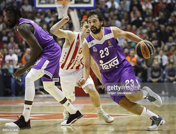 Sergio Llull of Real Madrid in action against Nate Wolters of Crvena Zvezda during the 2016/2017 Turkish Airlines EuroLeague Regular Season Round 14...