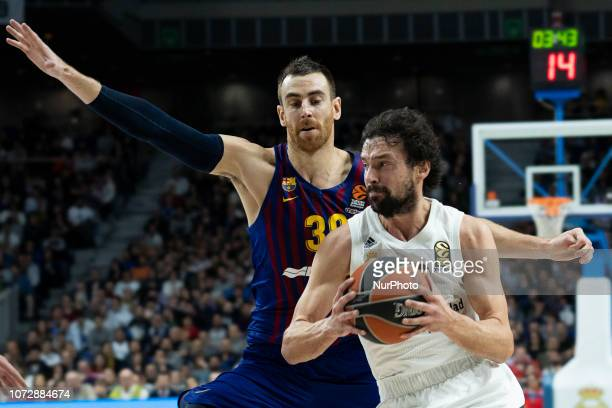 Sergio Llull of Real Madrid in action during the Turkish Airlines Euroleague basketball match between Real Madrid and Barcelona Lassa at Wizink...