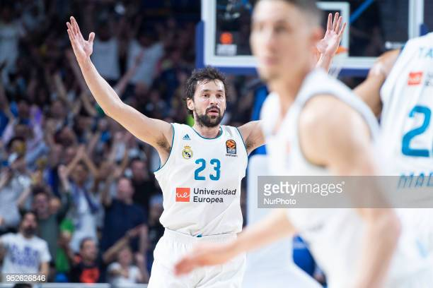 Sergio Llull of Real Madrid in action during the Turkish Airlines Euroleague Play Offs Game 4 between Real Madrid v Panathinaikos Superfoods Athens...