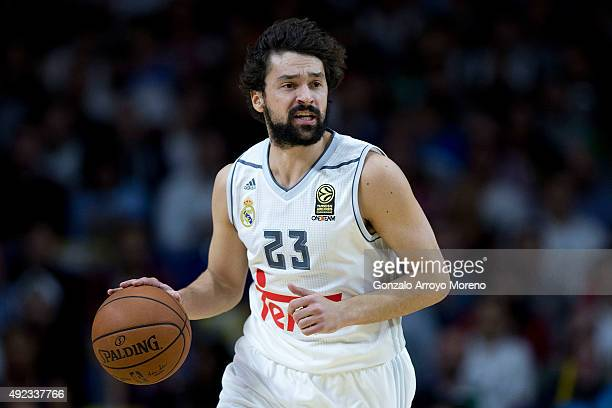 Sergio Llull of Real Madrid runs with the ball during the friendlies of the NBA Global Games 2015 basketball match between Real Madrid and Boston...