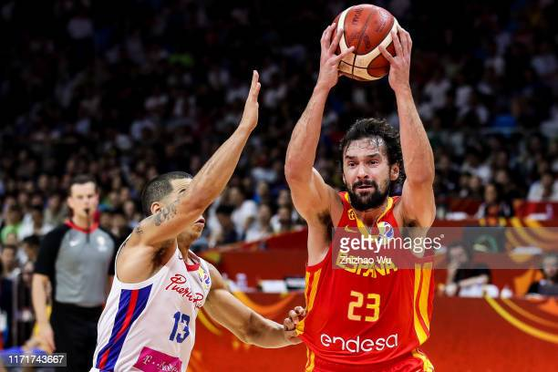 Sergio Llull of Spain drives the ball during the 2019 FIBA World Cup first round match between Puerto Rico and Spain at Guangzhou Gymnasium on...