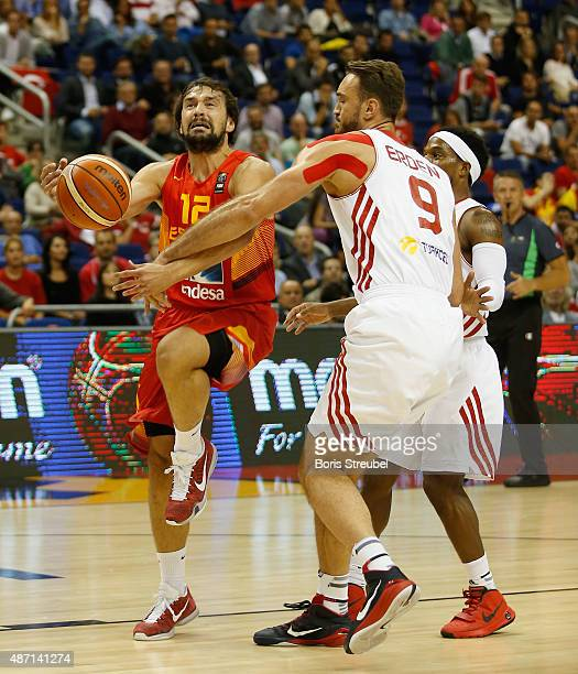 Sergio Llull of Spain drives to the basket against Semih Erden of Turkey during the FIBA EuroBasket 2015 Group B basketball match between Turkey and...