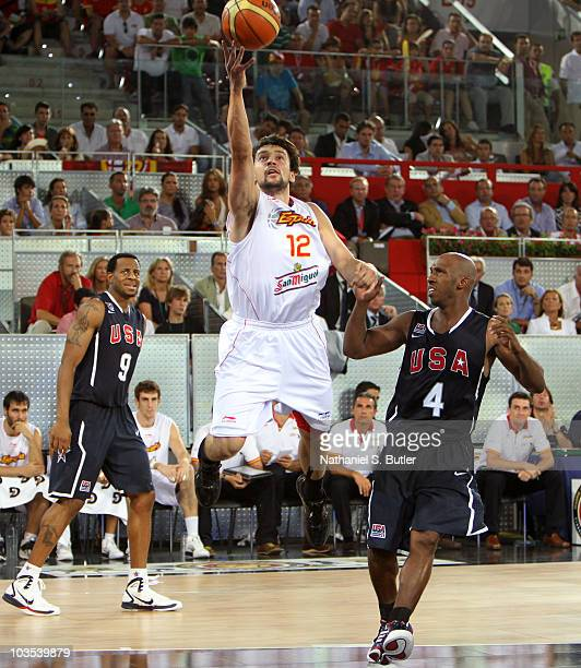 Sergio Llull of the Spain Senior Men's National Team shoots against Chauncey Billups of the USA Senior Men's National Team on August 22 2010 at La...