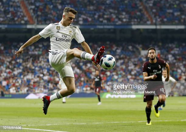 Sergio Lopez of Real Madrid in action during the Trofeo Santiago Bernabeu match between Real Madrid and AC Milan at Estadio Santiago Bernabeu on...