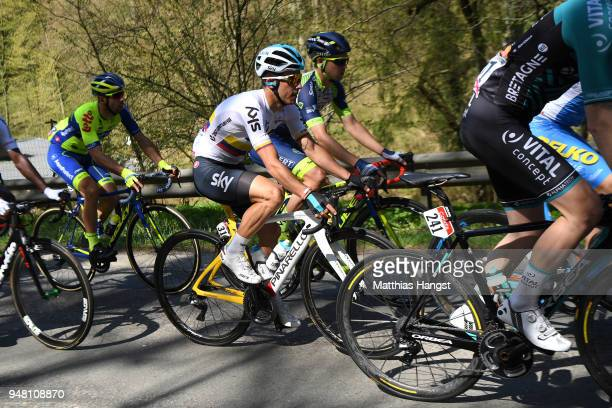 Sergio Luis Henao Montoya of Colombia and Team Sky / during the 82nd La Fleche Wallonne 2018 a 1985km race from Seraing to Mur De Huy on April 18...