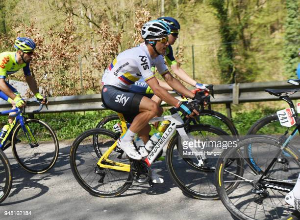 Sergio Luis Henao Montoya of Colombia and Team Sky in action during the 82nd La Fleche Wallonne 2018 a 1985km race from Seraing to Mur De Huy on...